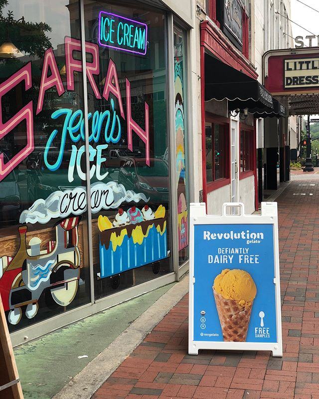In/near Atlanta and dying to find some of our newest flavors? Visit @sarahjeansicecream in Marietta Square. He always carries seasonal flavors, as well as some fun favorites like guinness, lemong gingersnap, and toasted coconut!  #revolutiongelato #youcanhaveitall #sarahjeansicecream #revgelato