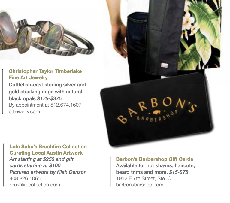 EASTSIDE MAGAZINE - Barbon's Gift Cards make the perfect gift!