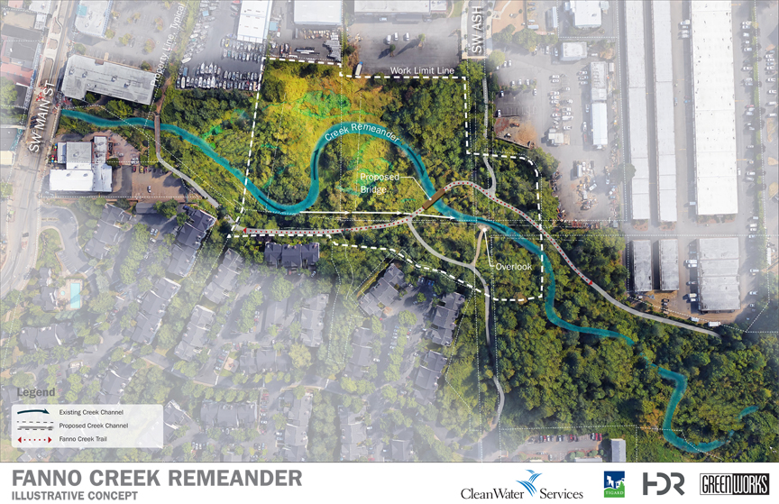 Illustration of proposed remeander of fanno creek showing creek winding through neighborhood
