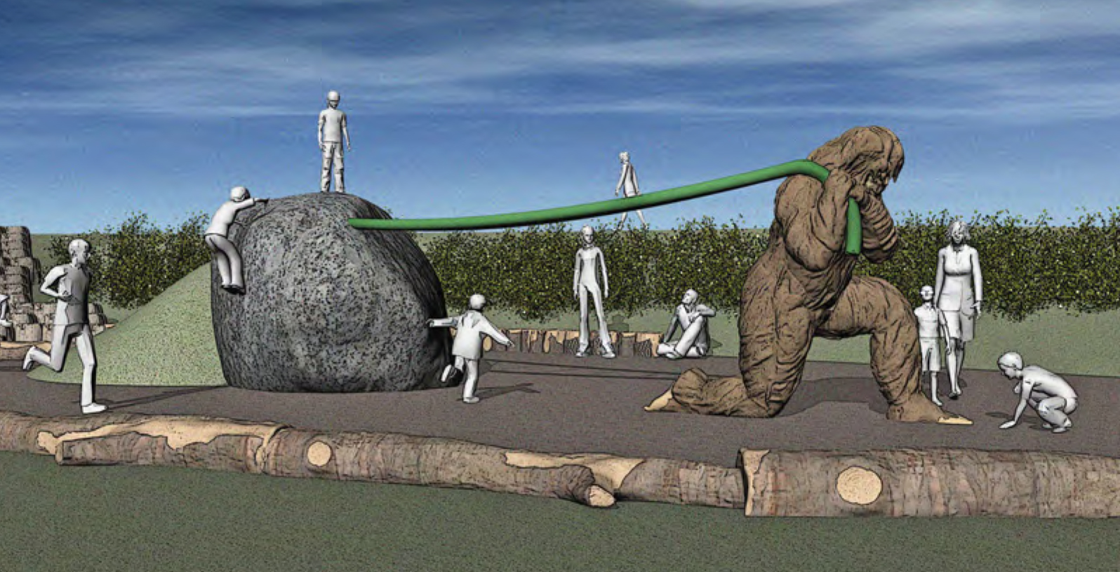 A computer generated 3d design depicting Children Playing sasquatch eegah and Erric the Erratic