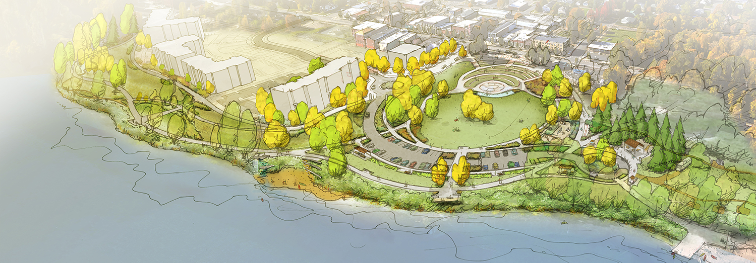 Independence landing riverfront park plan graphic birdseye