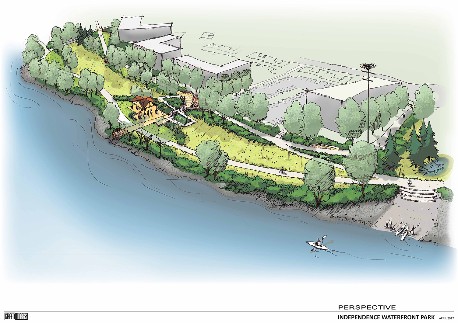 Independence Waterfront Park Perspective Plan Drawing
