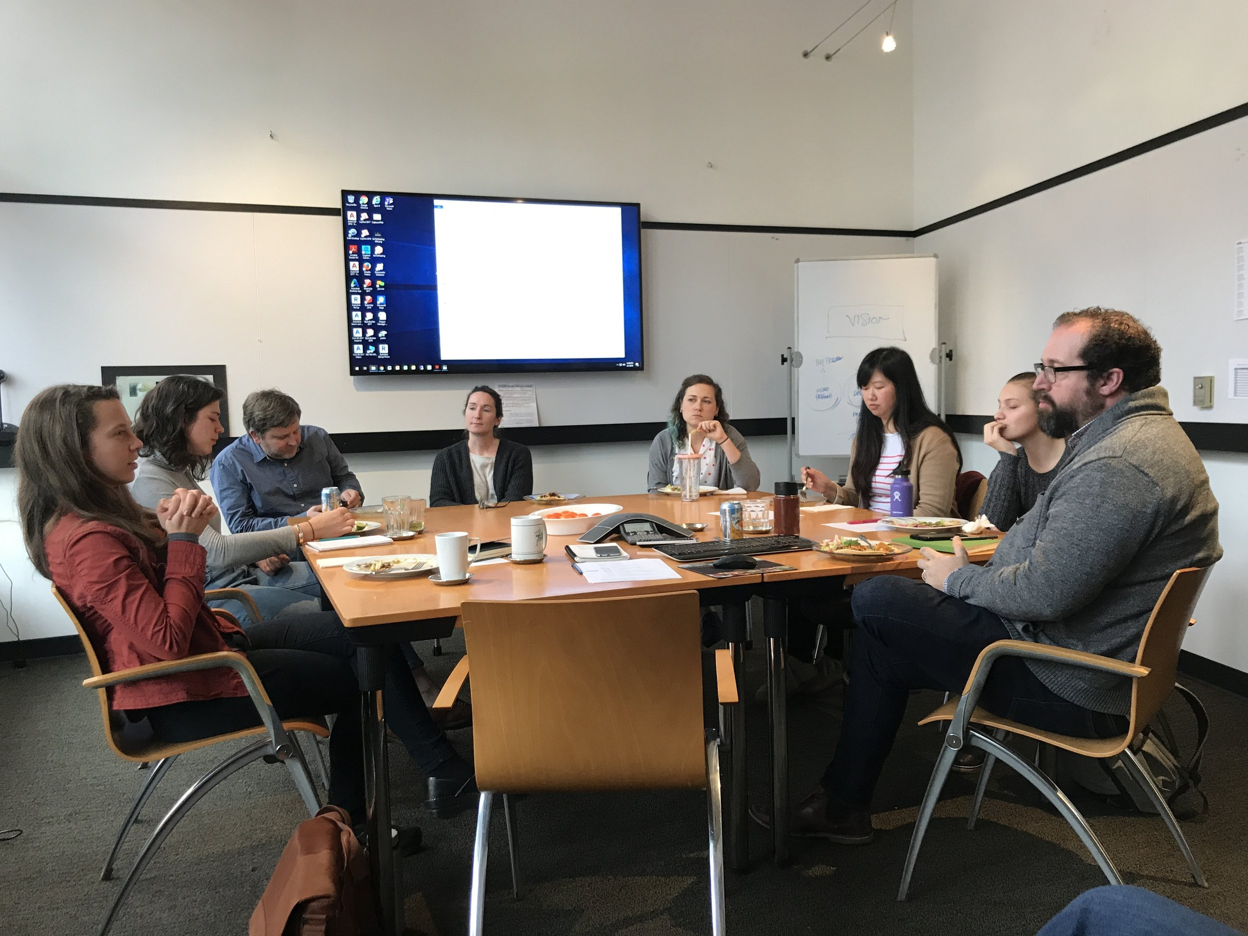 """Lunch and an animated discussion during the """"GreenWorks Tackles Wicked Problems"""" session."""