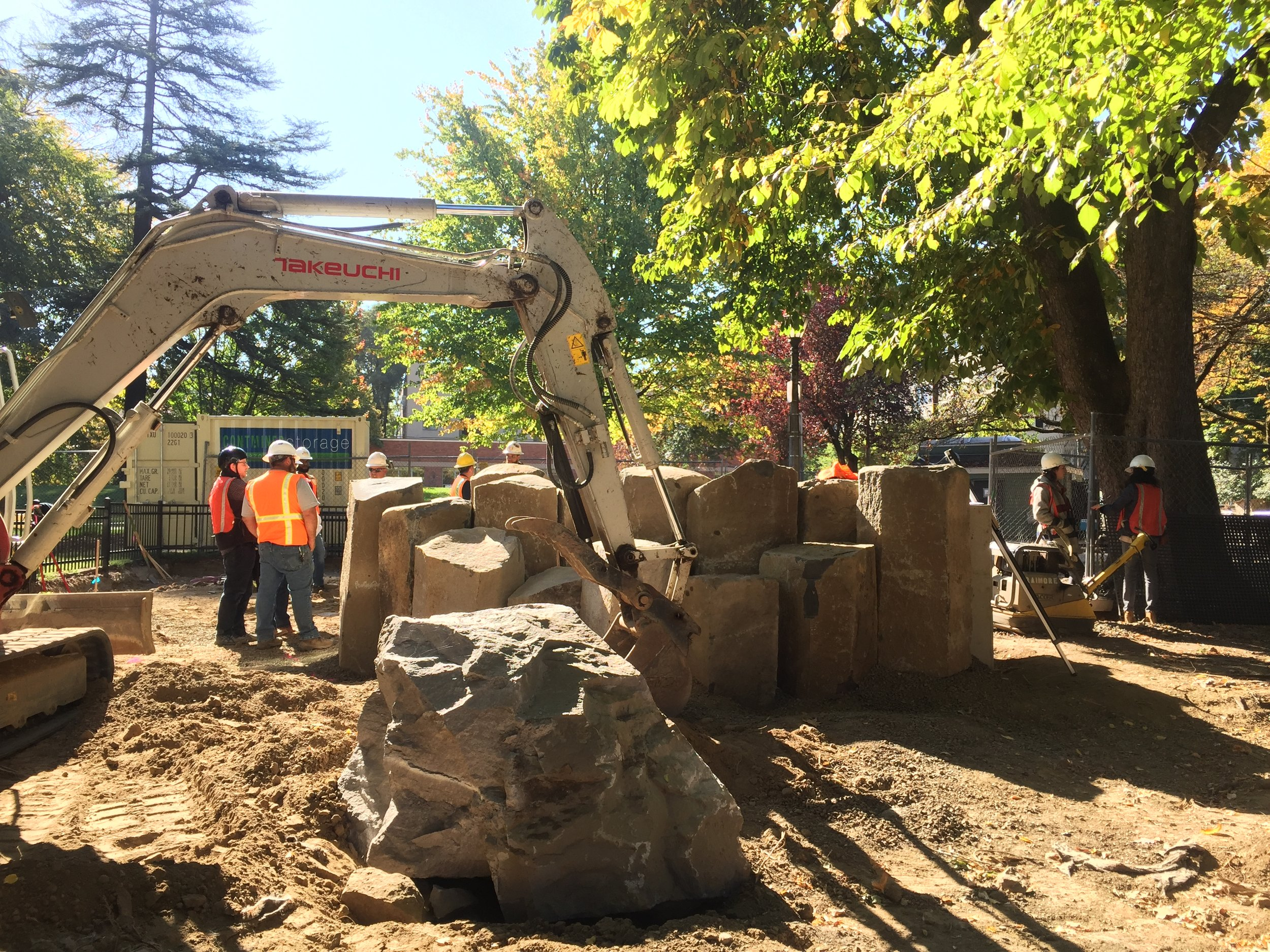Backhoe Arranging Basalt Columns During Couch Park Construction
