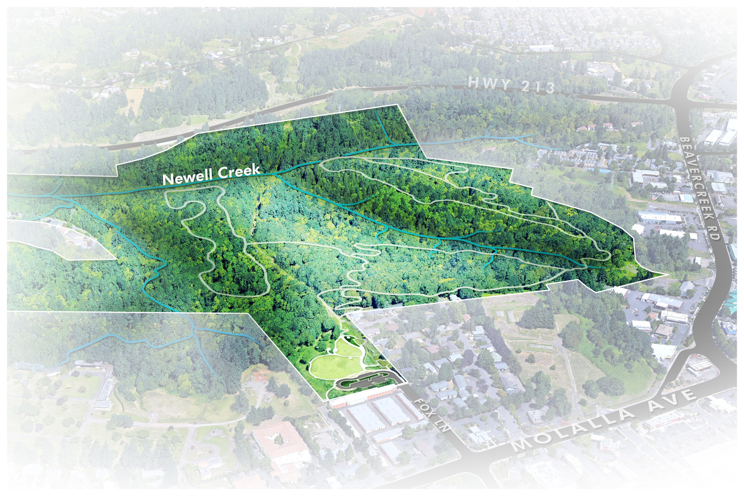 plan illustration for newell creek canyon from birdseye