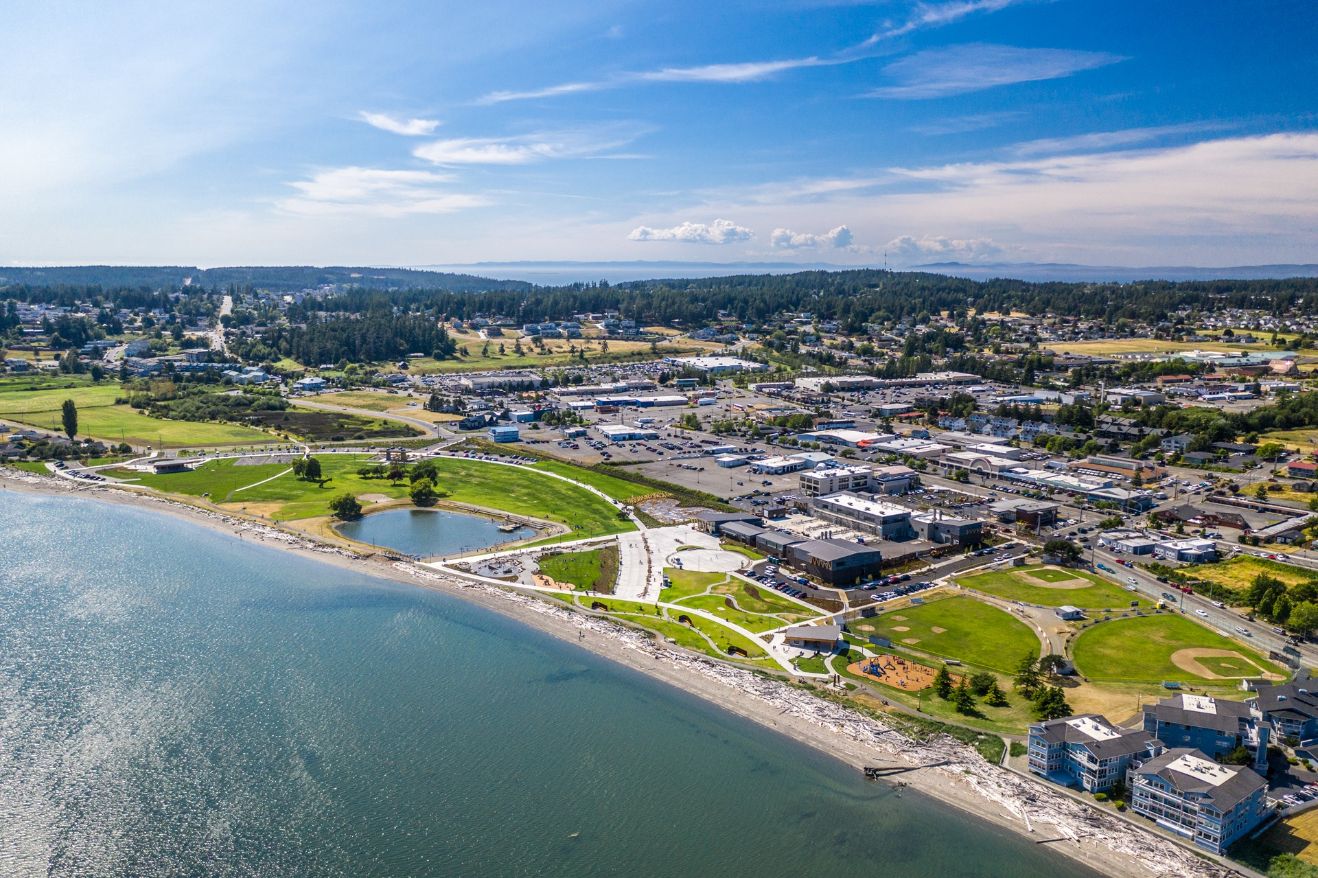 Windjammer Park in front of the city of oak harbor  from drone over oak harbor