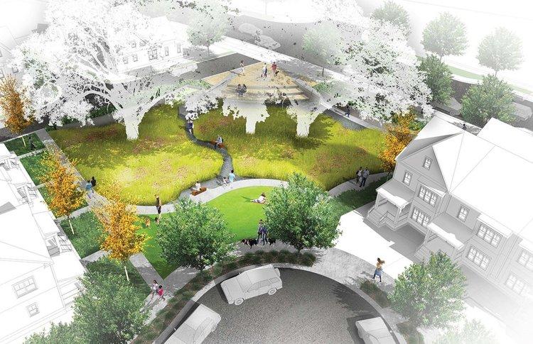 Illustration of an oak savanna ringed by sidewalks from 200 feet up
