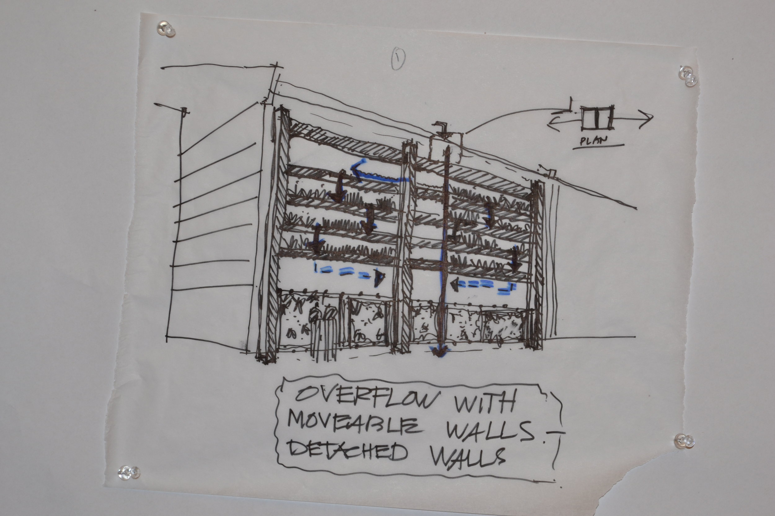architectural Sketch depicting metal structure with explanation of water flow