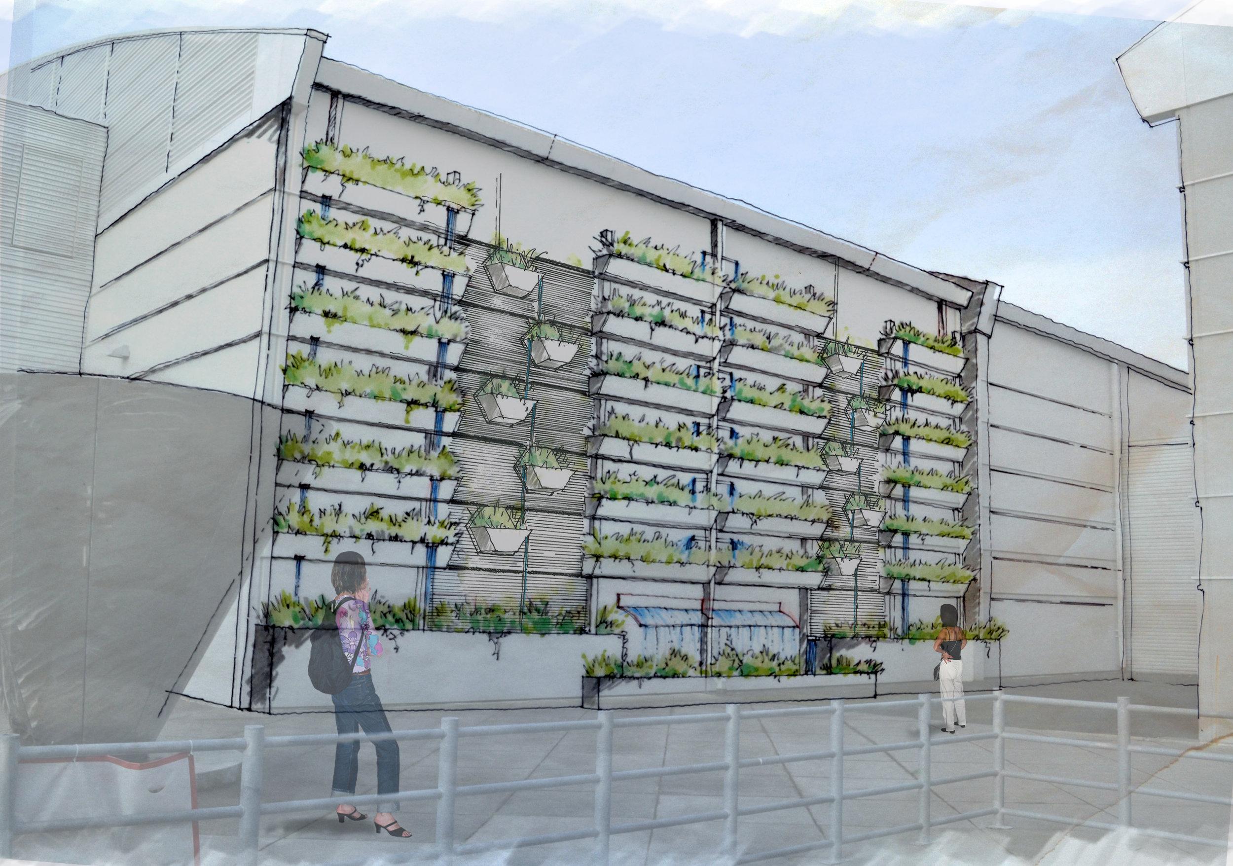 Anthropocene rain garden at portland expo center