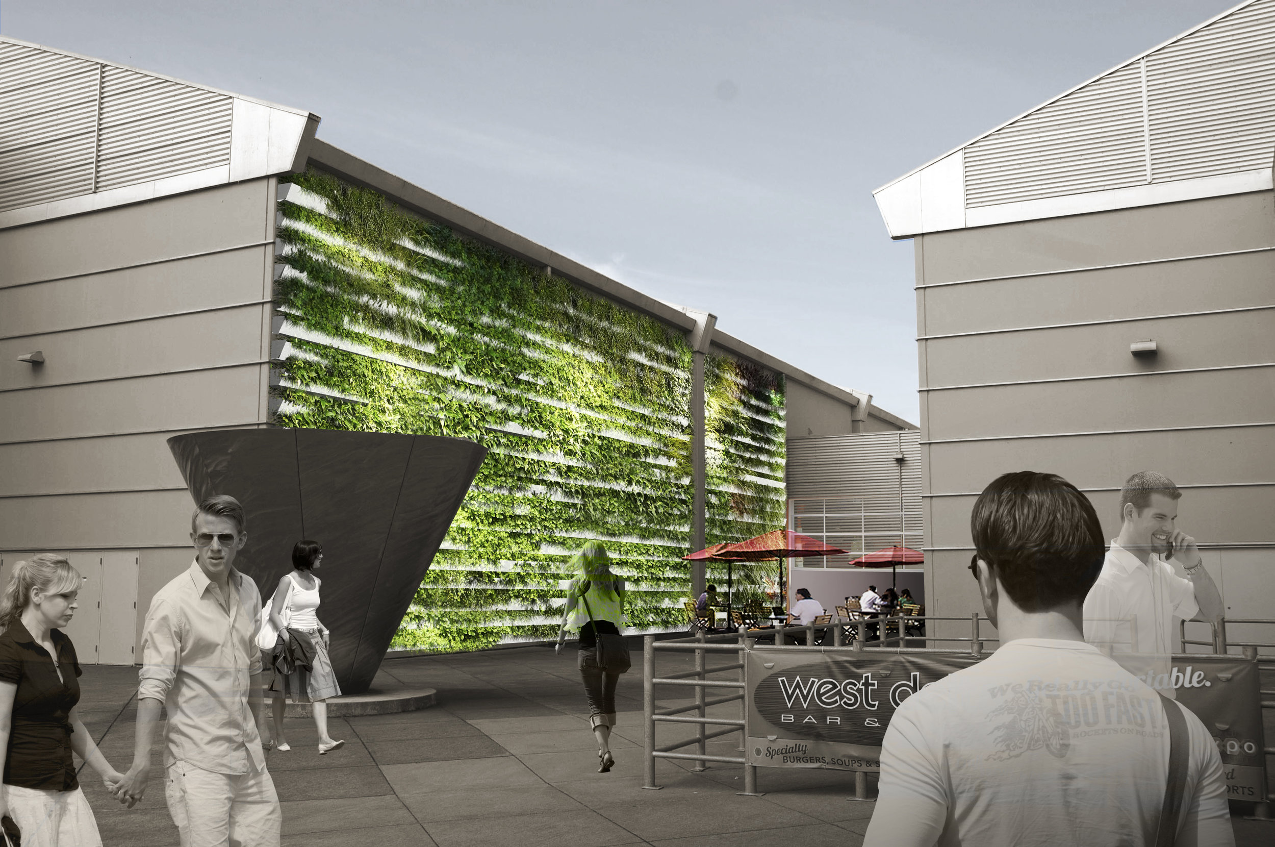 computer generated green wall concept with layered vegetated basins