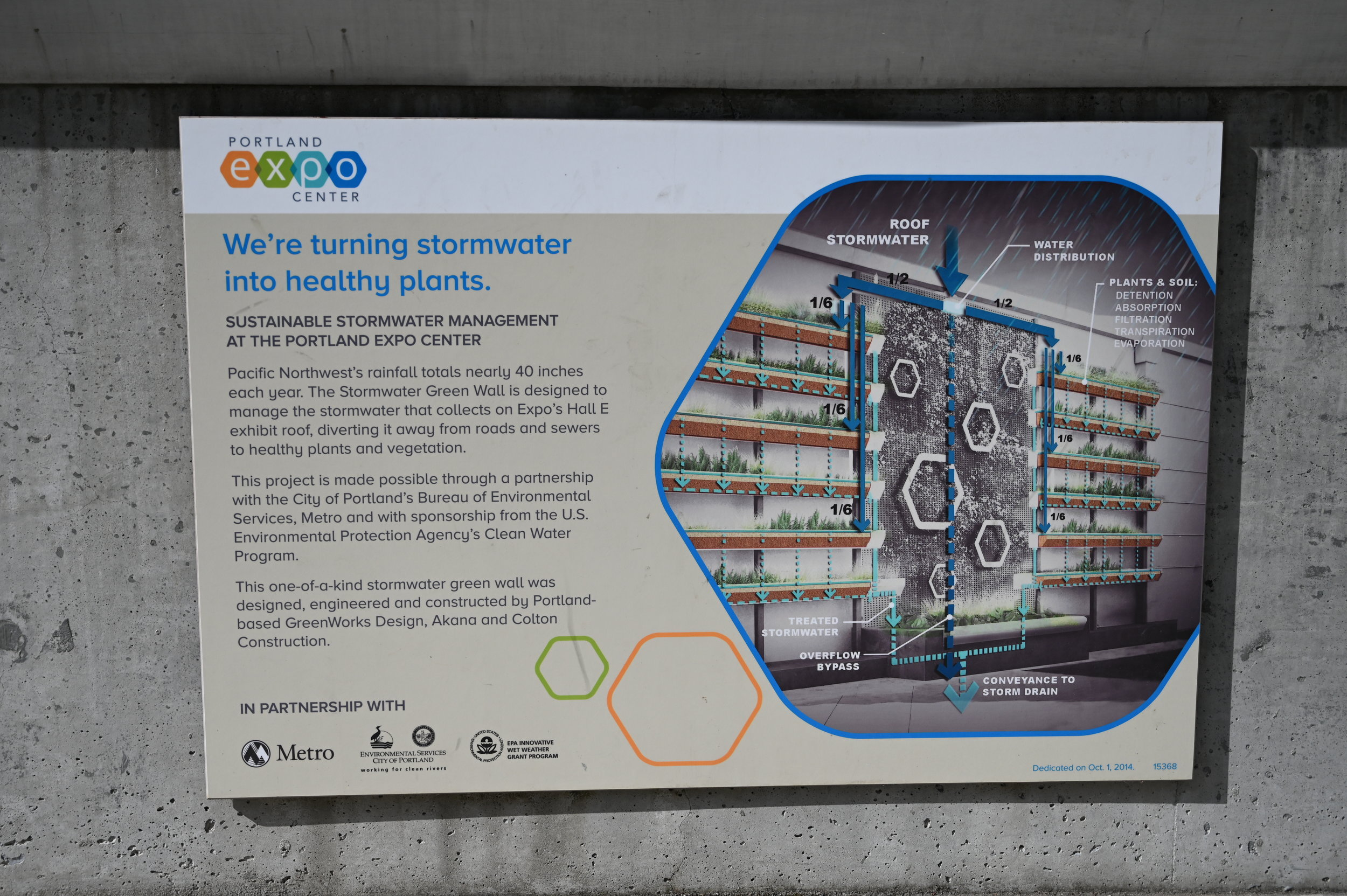 interpretive sign explaining the structure and purpose of the stormwater wall, posted below the wall itself