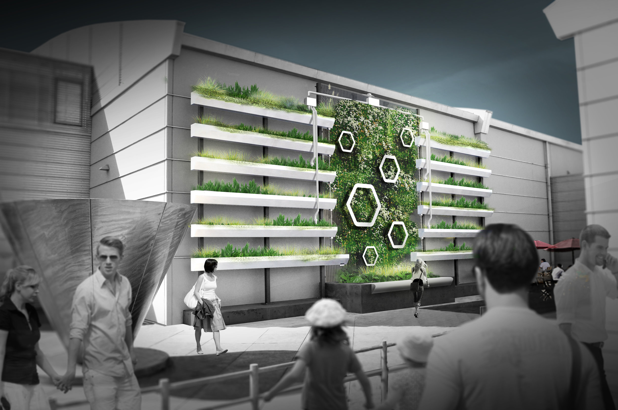 Green wall in computer generated sketch with people enjoying it