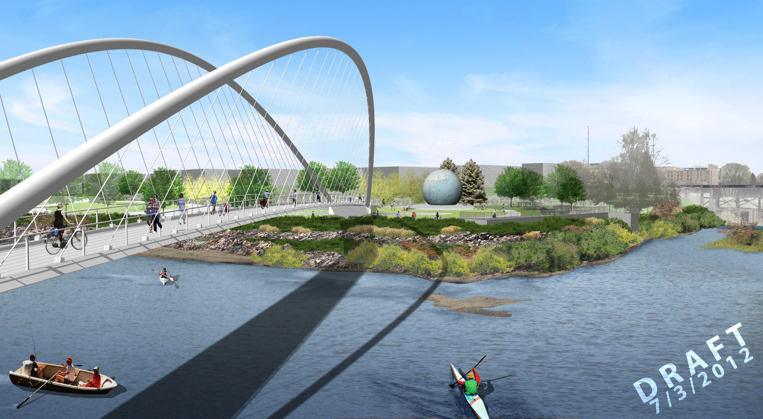 illustration of suspension bridge with kayakers in willamette slough in salem oregon