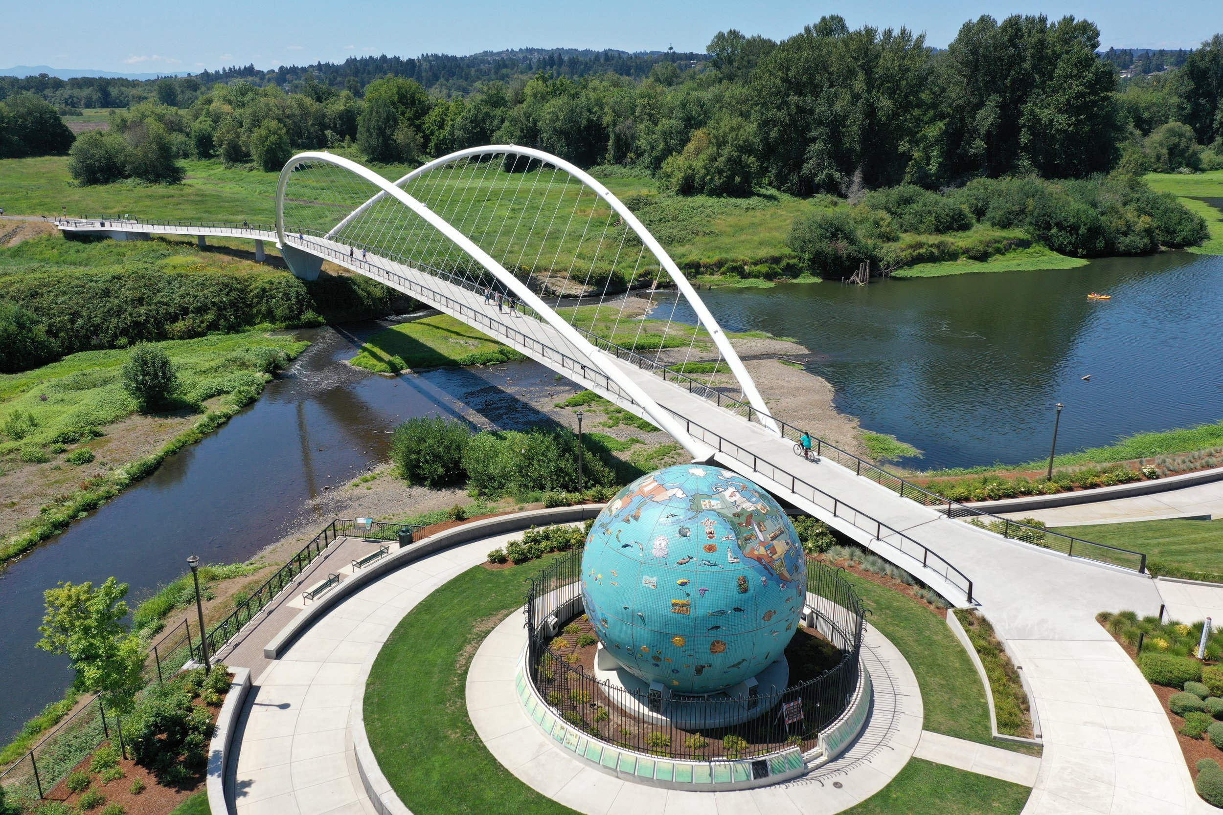 minto island bridge with globe in foreground