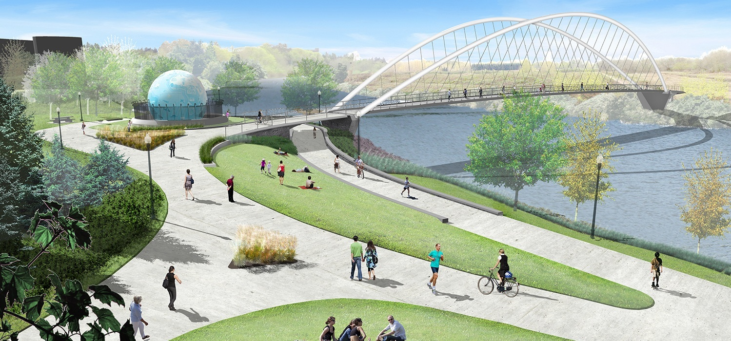 illustration of people approaching minto island pedestrian bridge