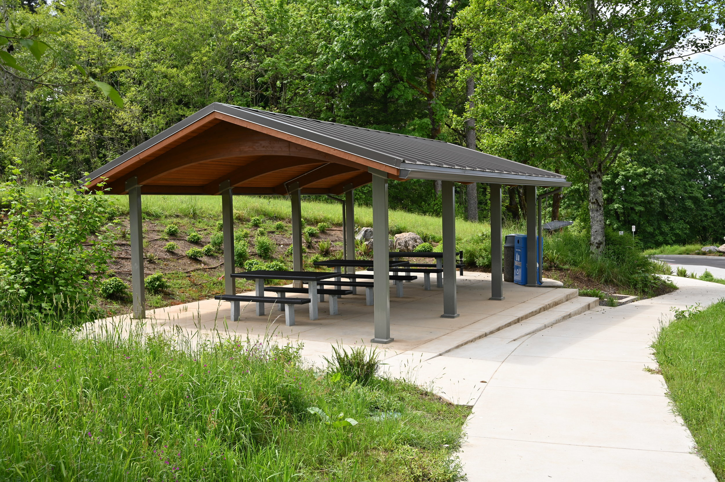 picnic shelter in front of a forest on a sunny day