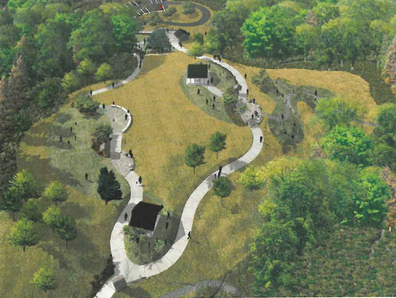 2006 quality visualization of pathway winding around a hill with picnic shelters and a meadow