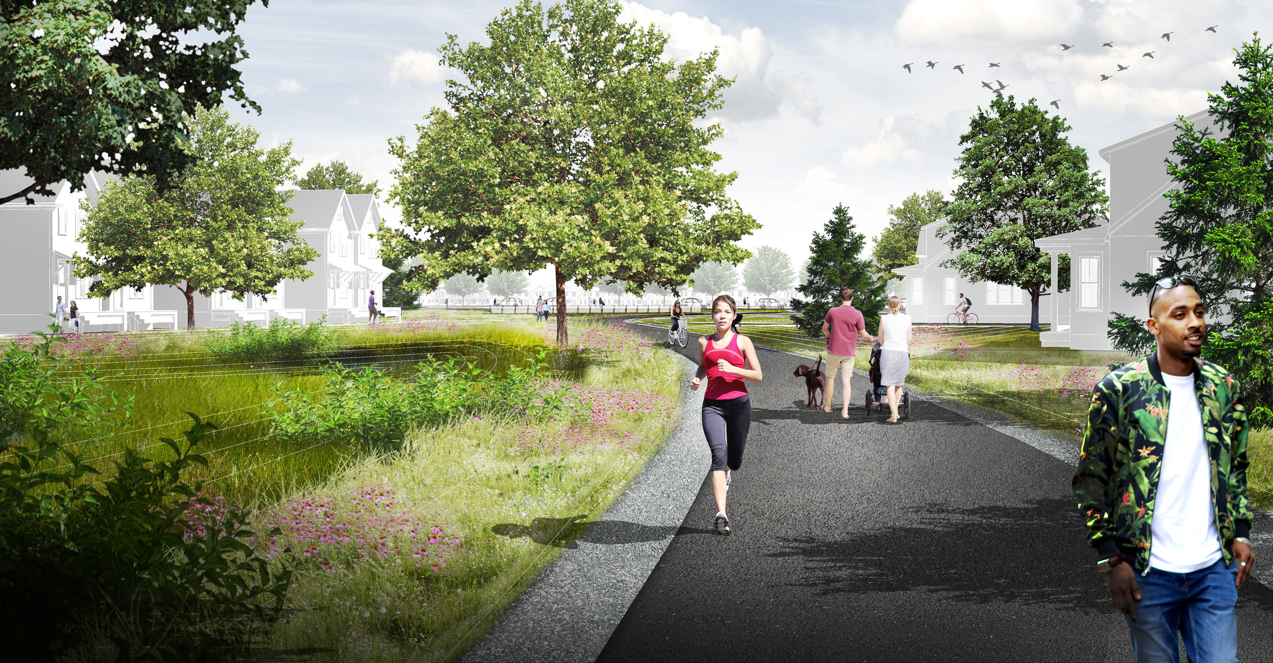 computer generated image of people walking along multimodal trail in reed's crossing