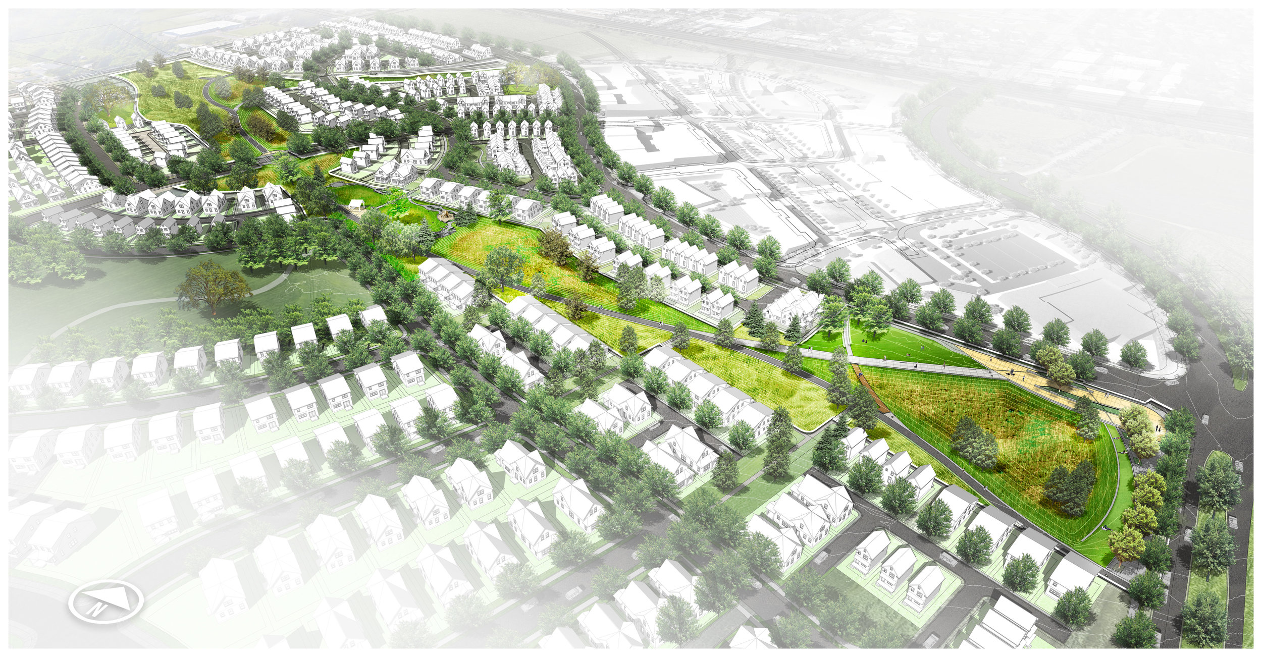illustration of prospective suburb with green space knitting it together