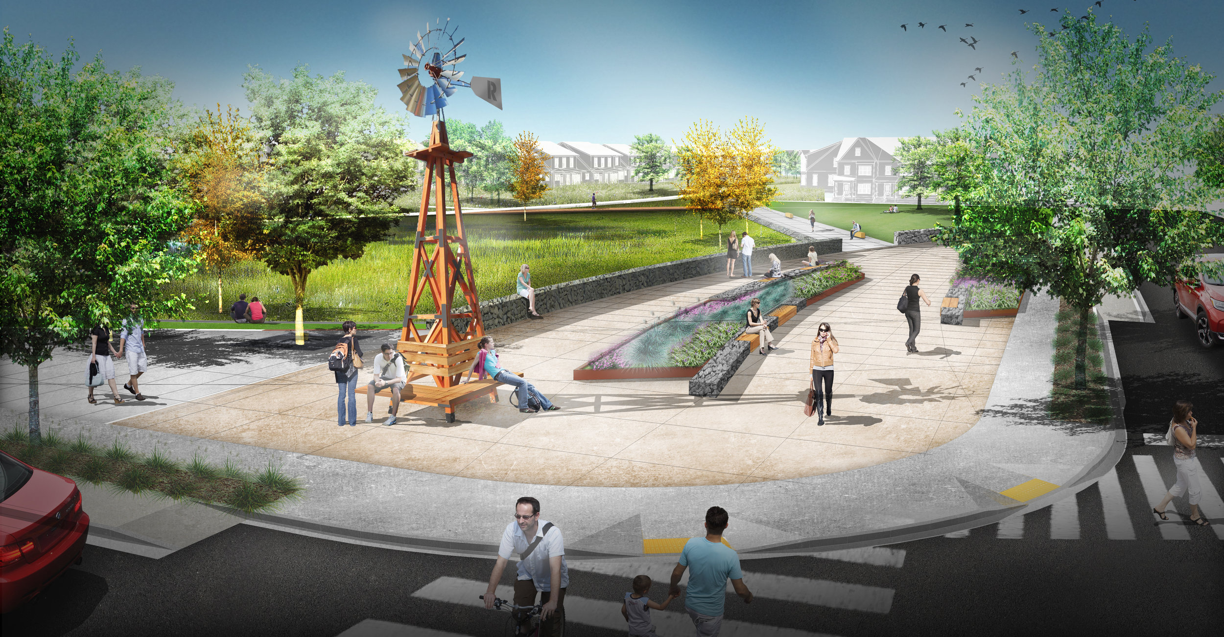 illustration of windmill on street corner with park in background