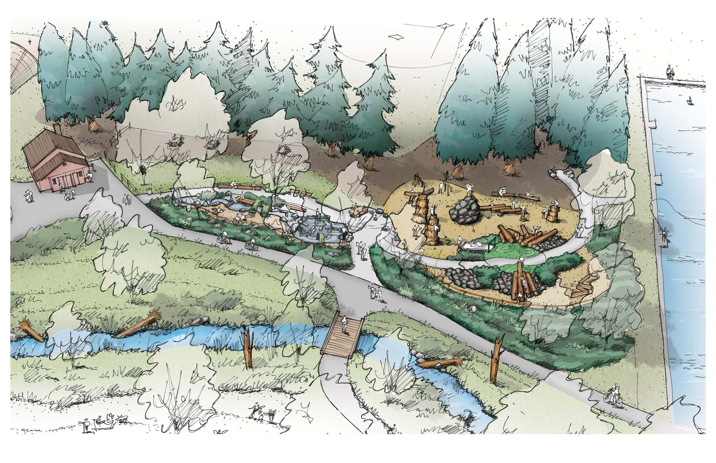 illustration of westmoreland park nature play area plans