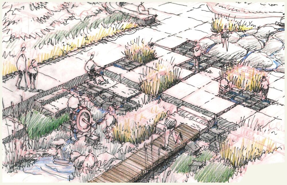 illustration of angular walkways with plants growing between spaces in potential design