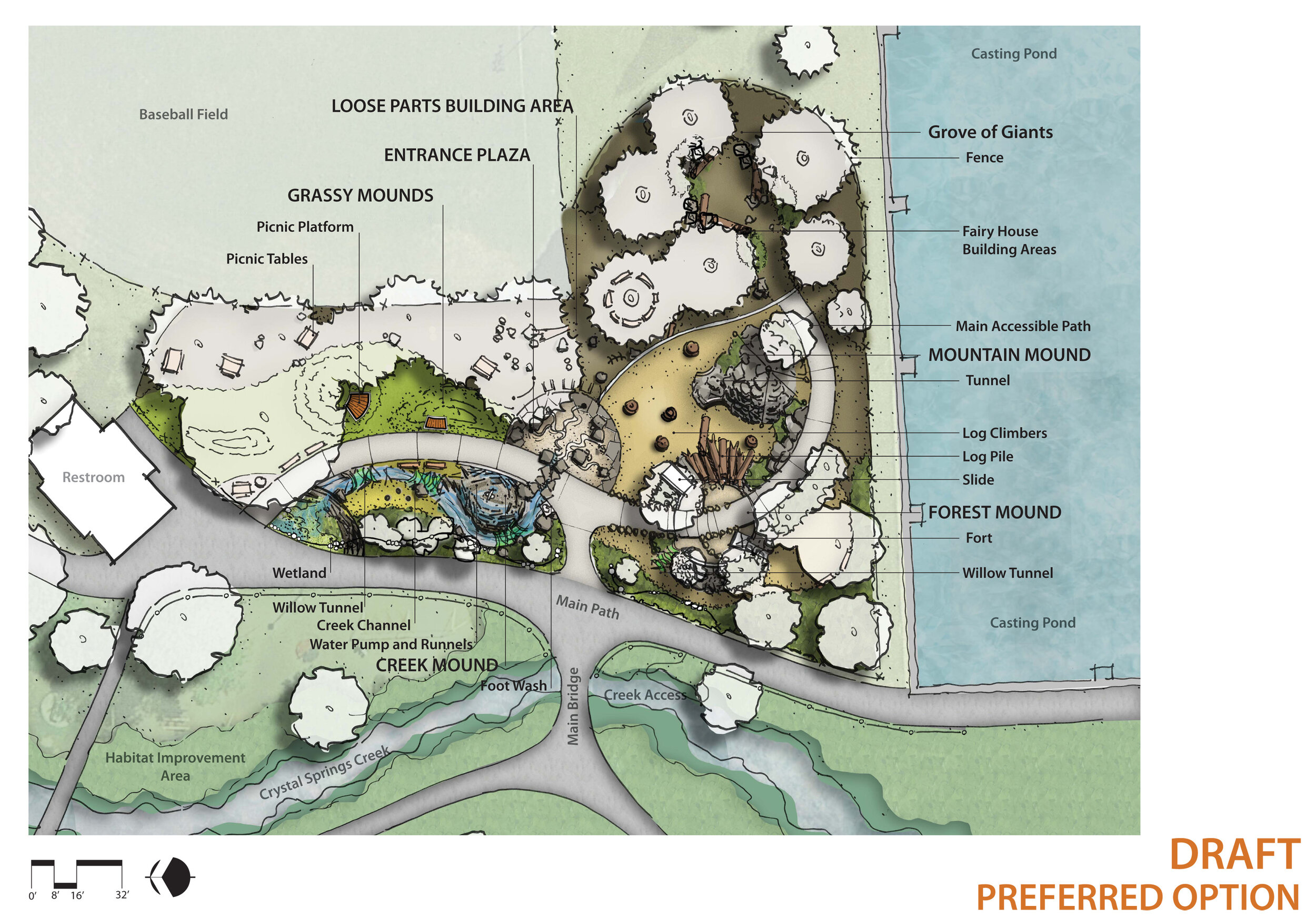 plan illustration of westmoreland park with labels