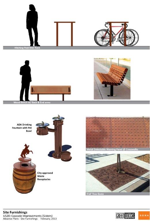 illustration of 'western' themed design furnishings, including benches, bike racks, a water fountain, and a trash can