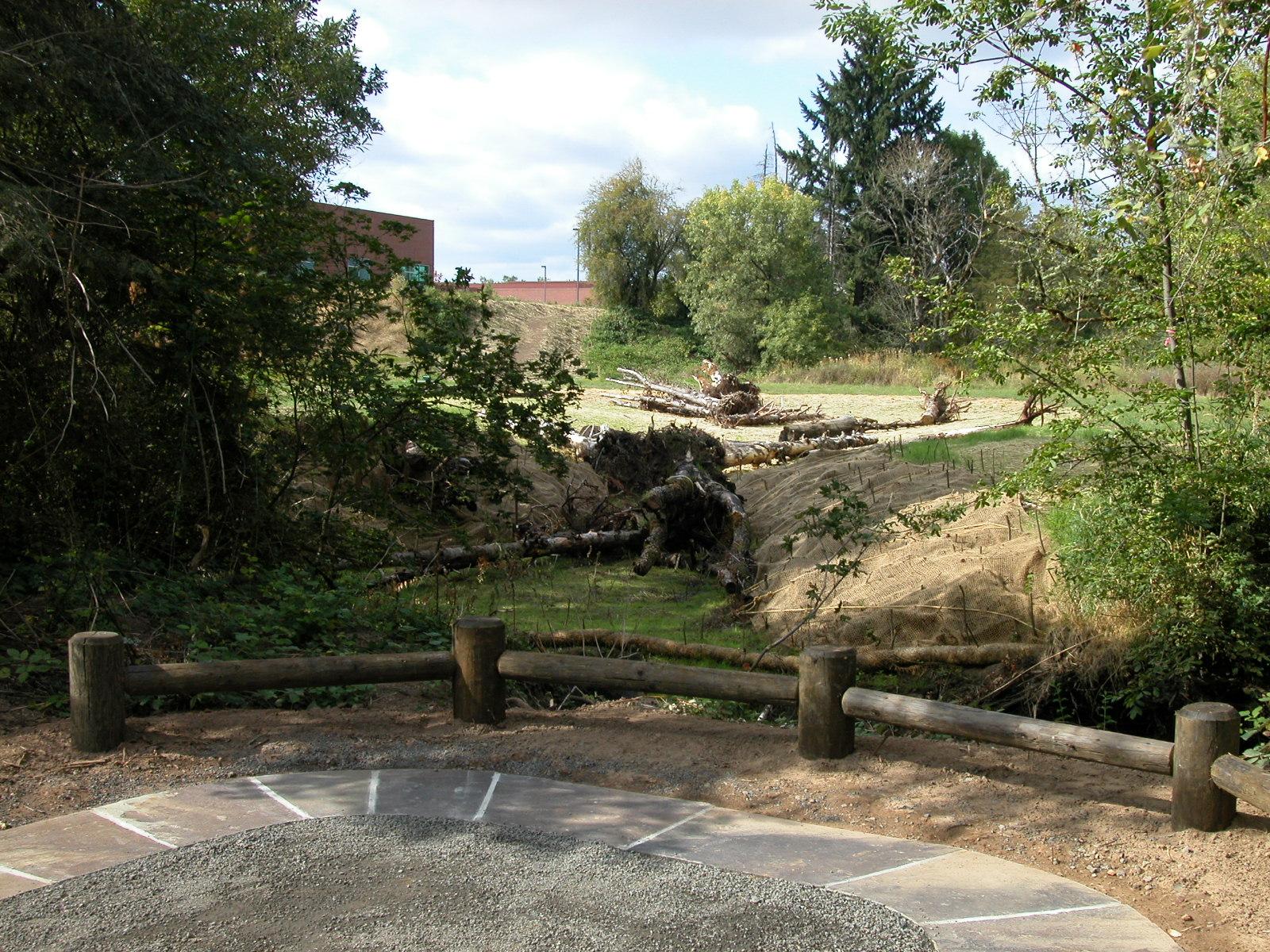 newly built rock creek trail improvements: fence, path, nurse logs