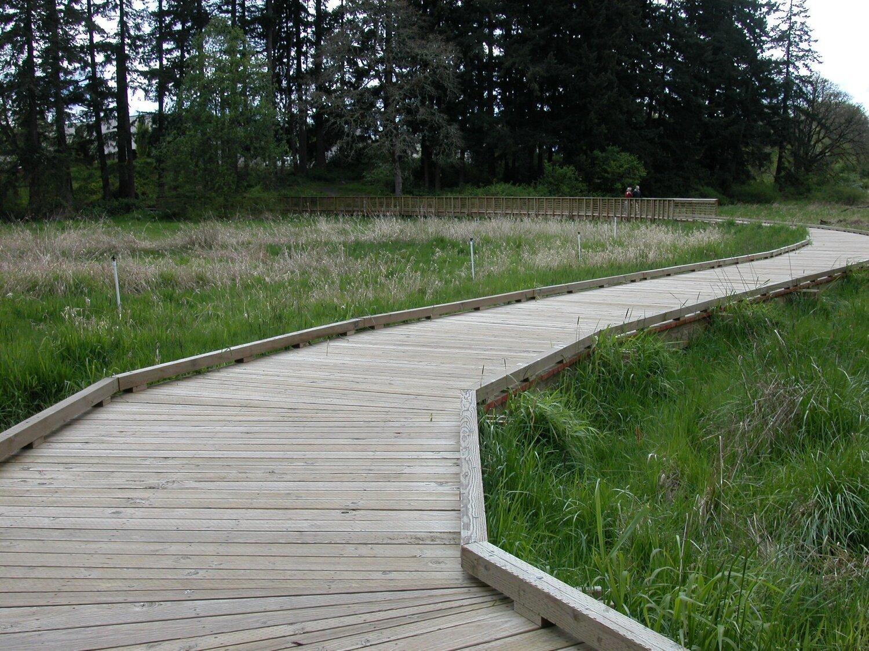 boardwalk at rock creek greenway on cloudy day