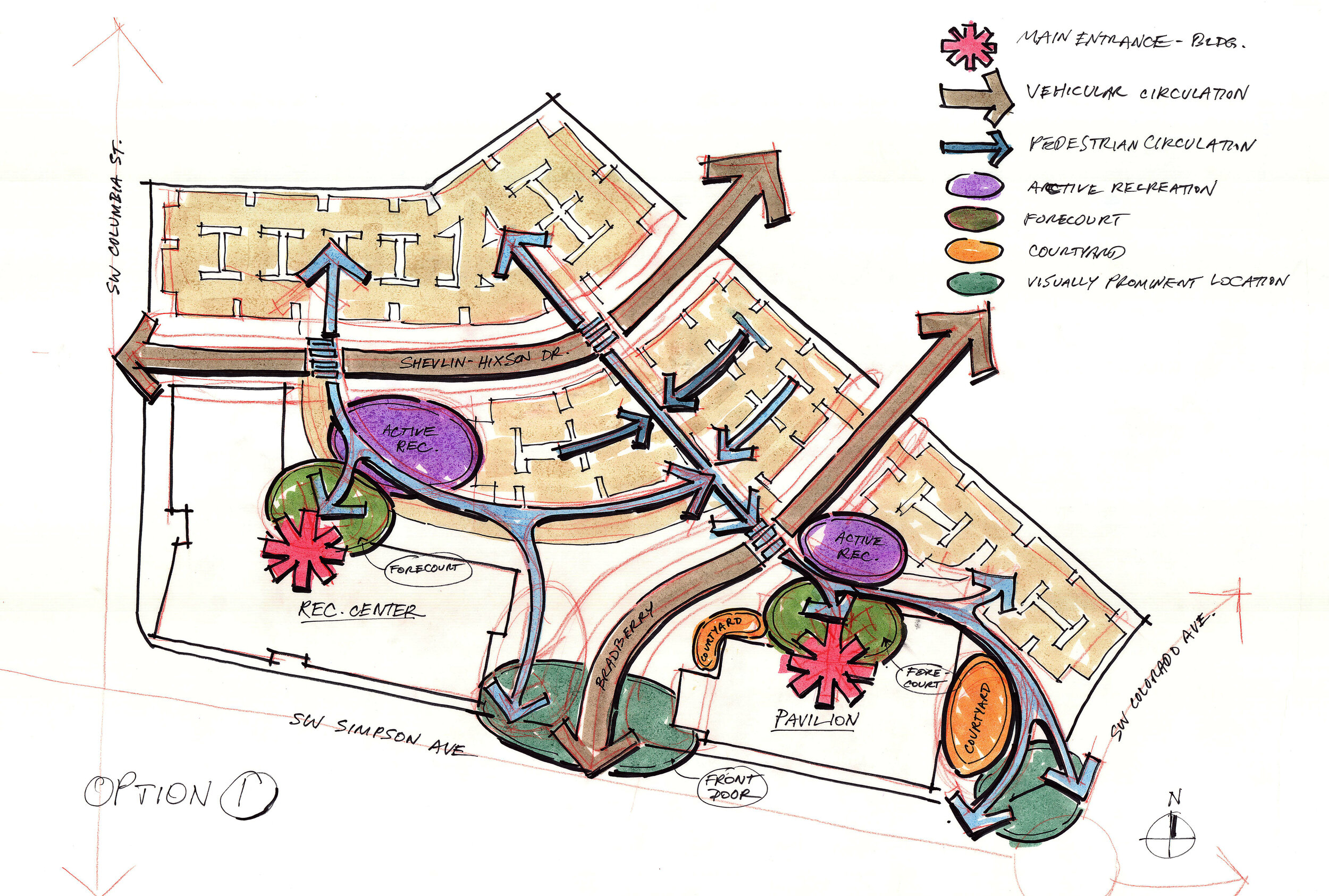 hand drawn diagram of master plan for simpson pavilion with circulation patterns