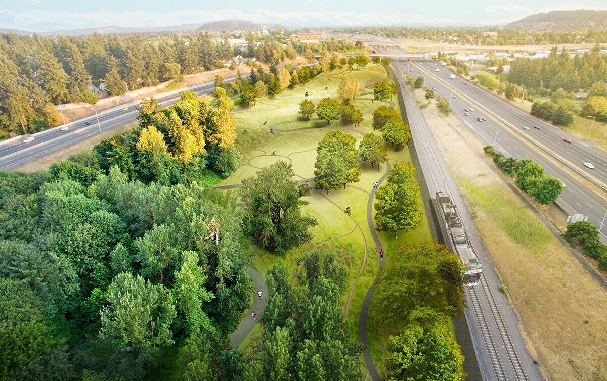 Illustration of two freeways diverging, a green space with trails, a light rail train, and trees filling the gap