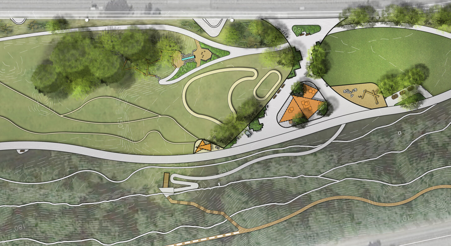 Illustration of trails, paved and dirt, winding through a narrow park, hemmed in by two freeways