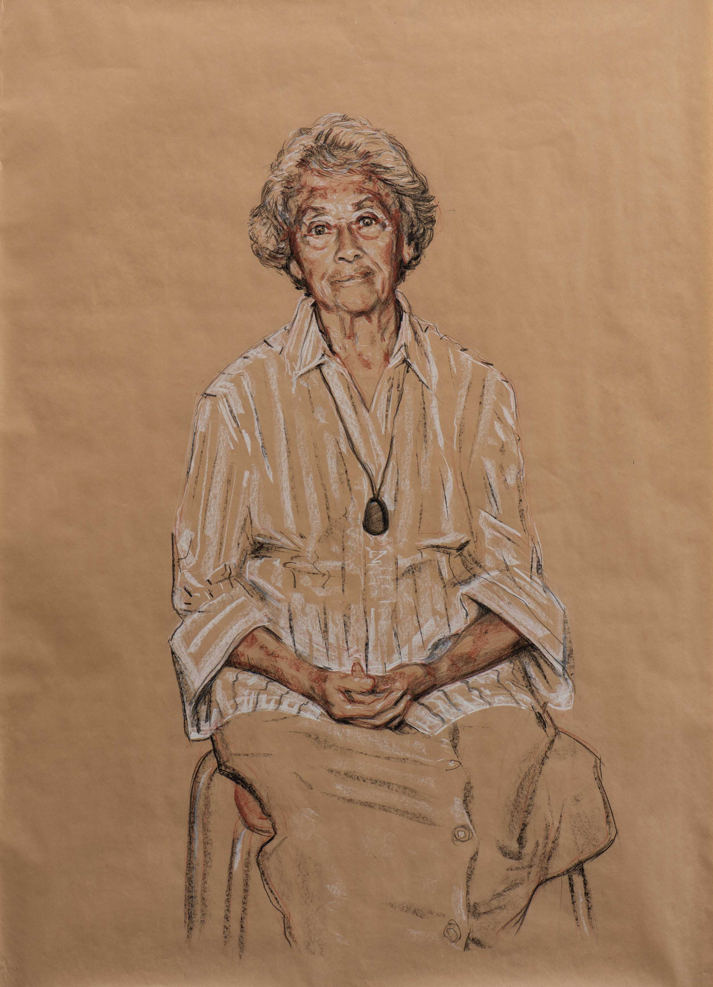 Aunty Mary King (study, 2010) - 127x91cm, Conte on brown paper
