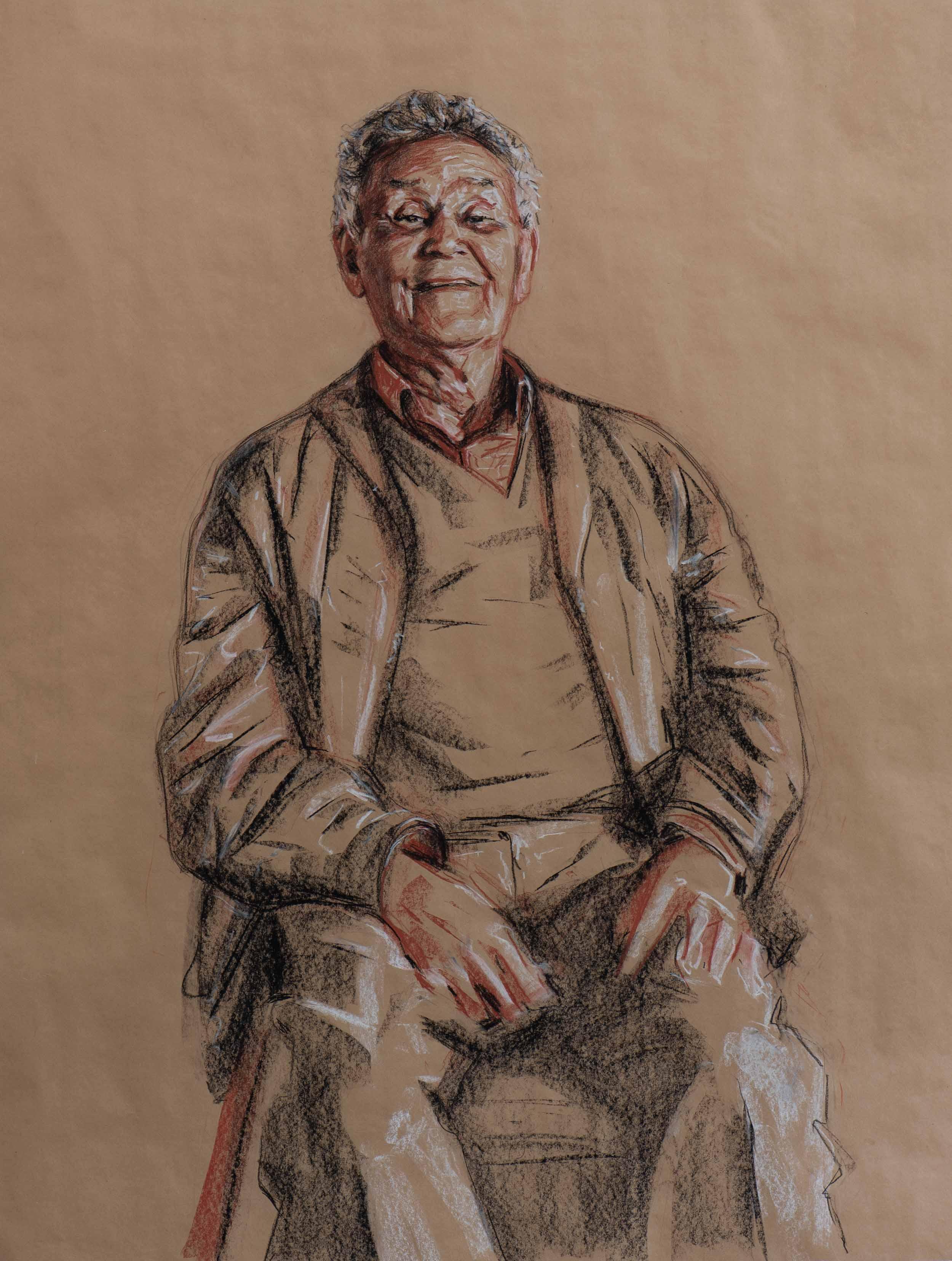 Uncle Merv Cooper (study, 2009) - 107x81cm, Conte on brown paper