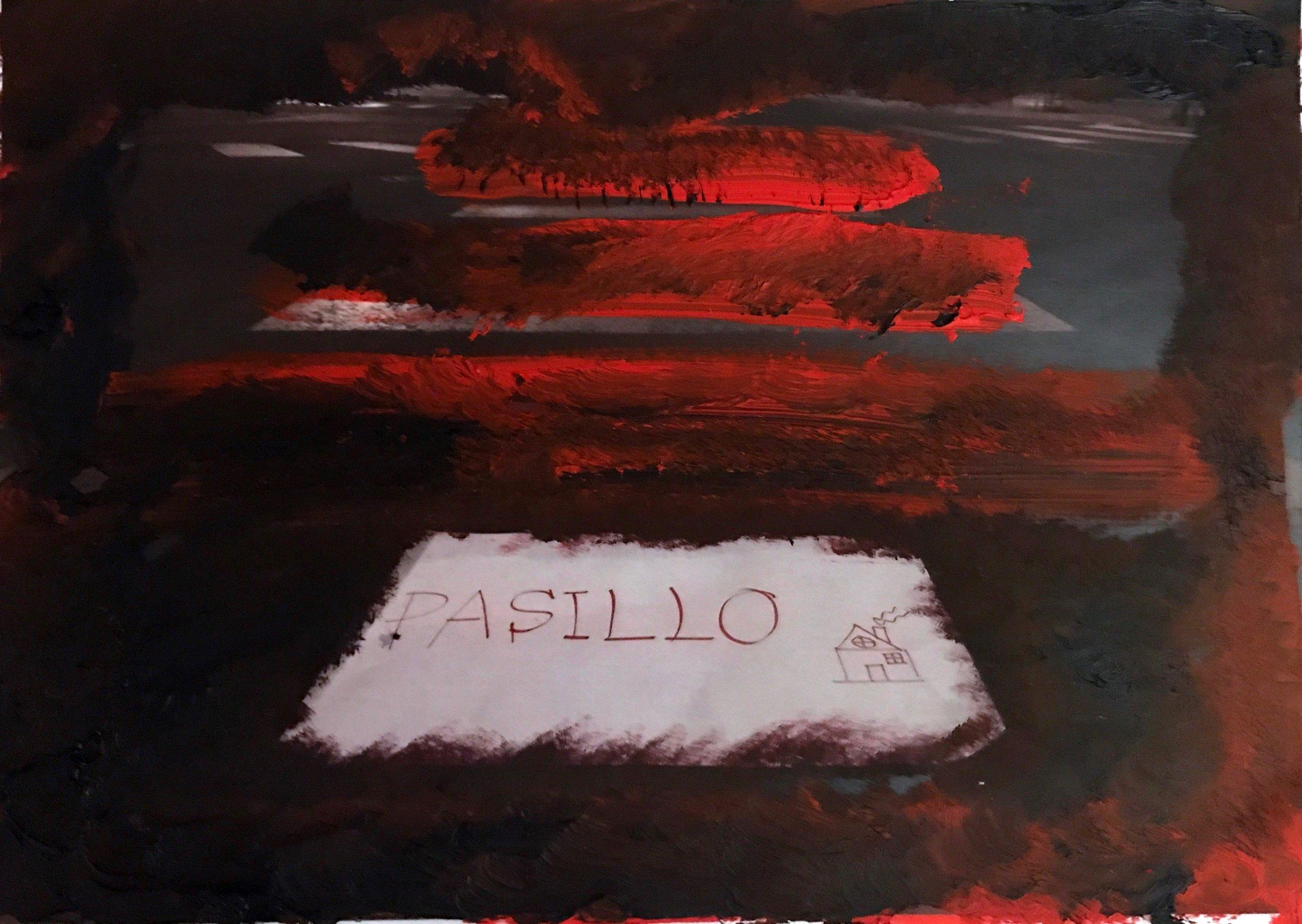 """Pasillo,"" Oil over printed photograph. Madrid, 2019."