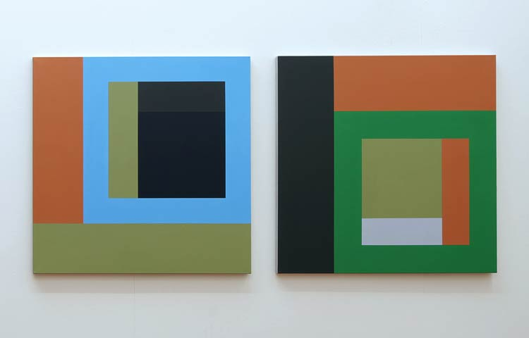 Arp / Moog  , 2013  |  Acrylic on linen, 936 x 936mm each