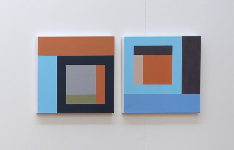 Nieuwe Beelding (II),   2012  |  Acrylic on linen, 450 x 450mm each