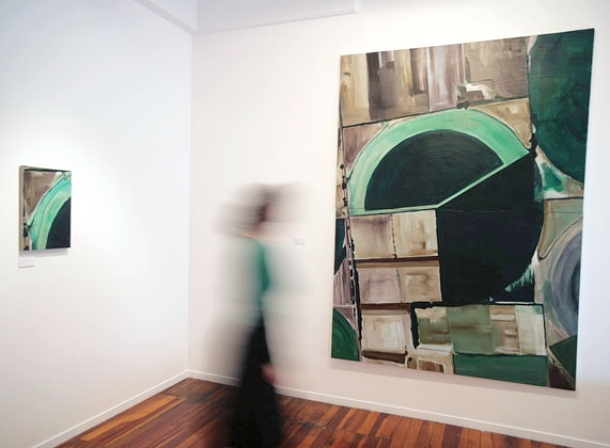 Lopdell House Gallery, instal photo. From Left:  The Fall  and  Detail