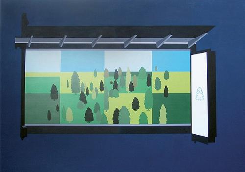 Waiting Room  , 2003    Acrylic on canvas, 2440 x 1240mm