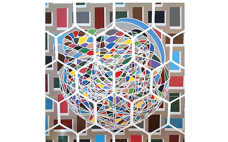 Still life with Truncated Icosorhombic Dodecahedra,   2014 | Acrylic on paper (12 sheets of Canson Montval Watercolor Block, 300gsm), 2240 x 2280mm,  Wallace Arts Trust Collection