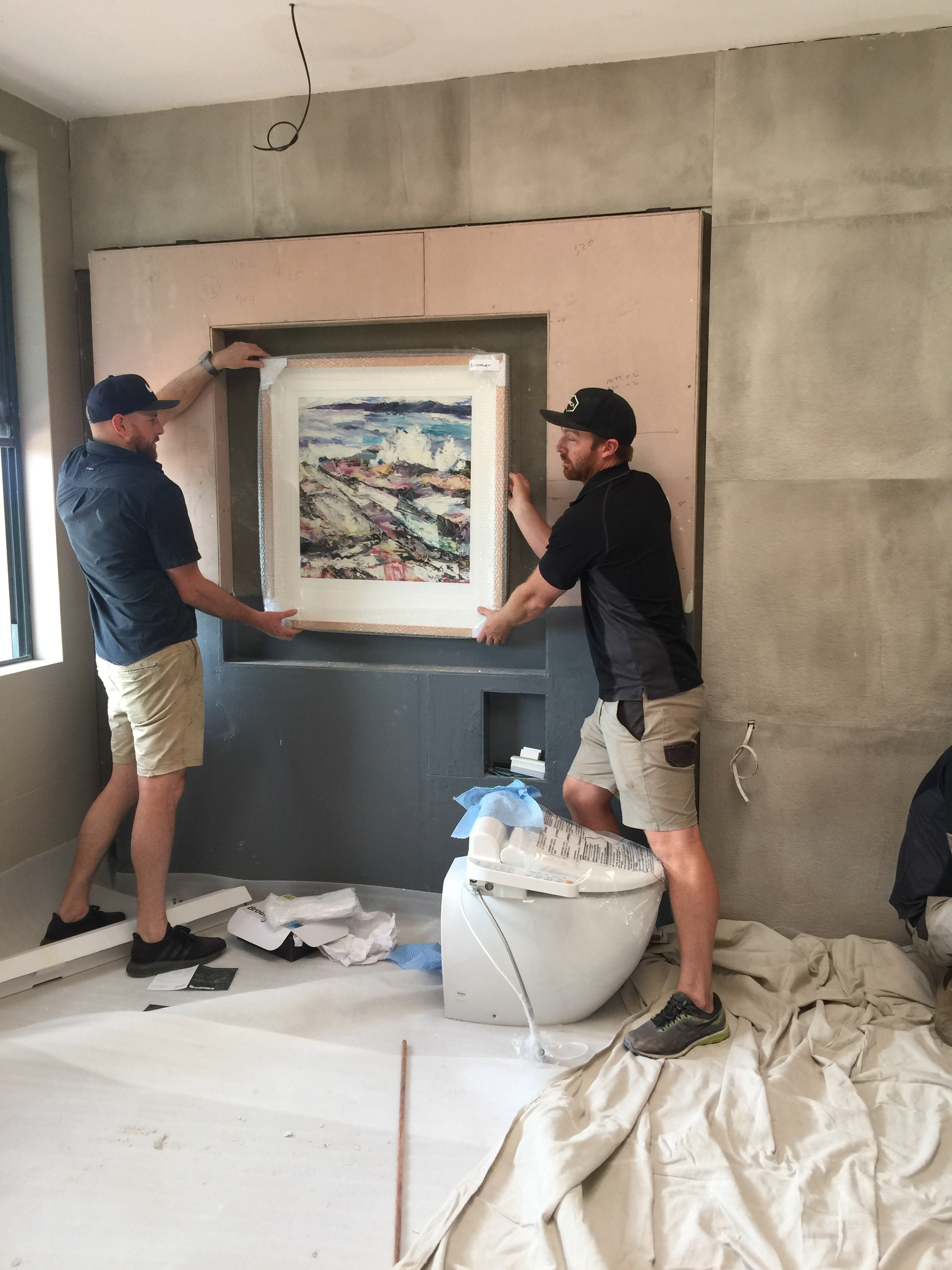 The team from Jim Wilson Constructions check art sizing for a marble niche I designed for a Mosman Project. A schedule is always provided to let all know the beginning and anticipated end to the construction on a project.