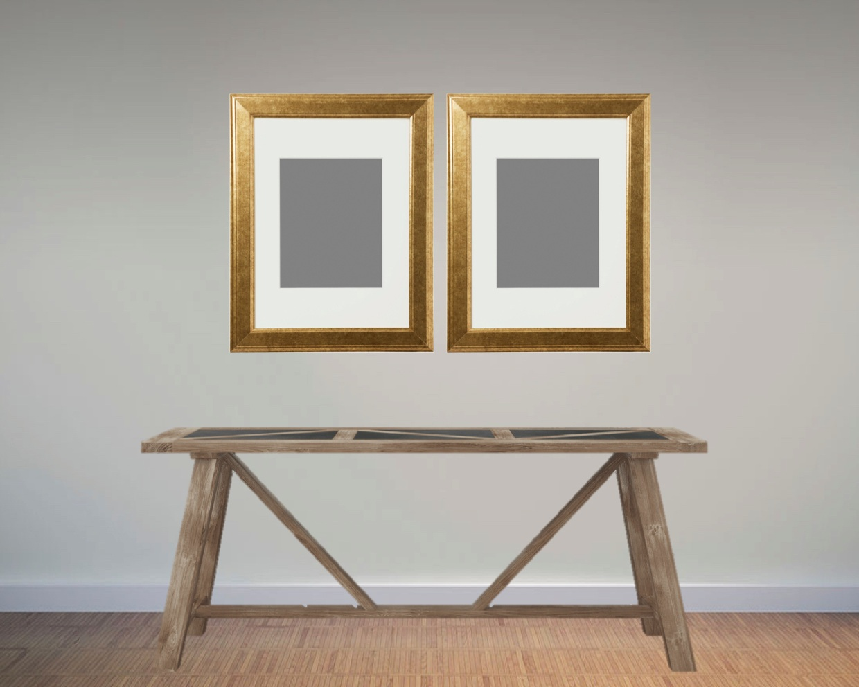 If you prefer simplicity and symmetry, two large frames are the perfect layout in this scenario.