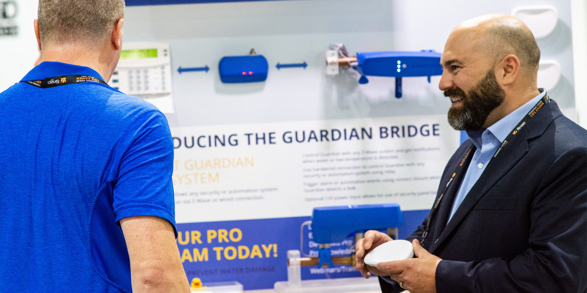 Jason Simms promoting the Guardian Leak Prevention System at the 2018 CEDIA event.