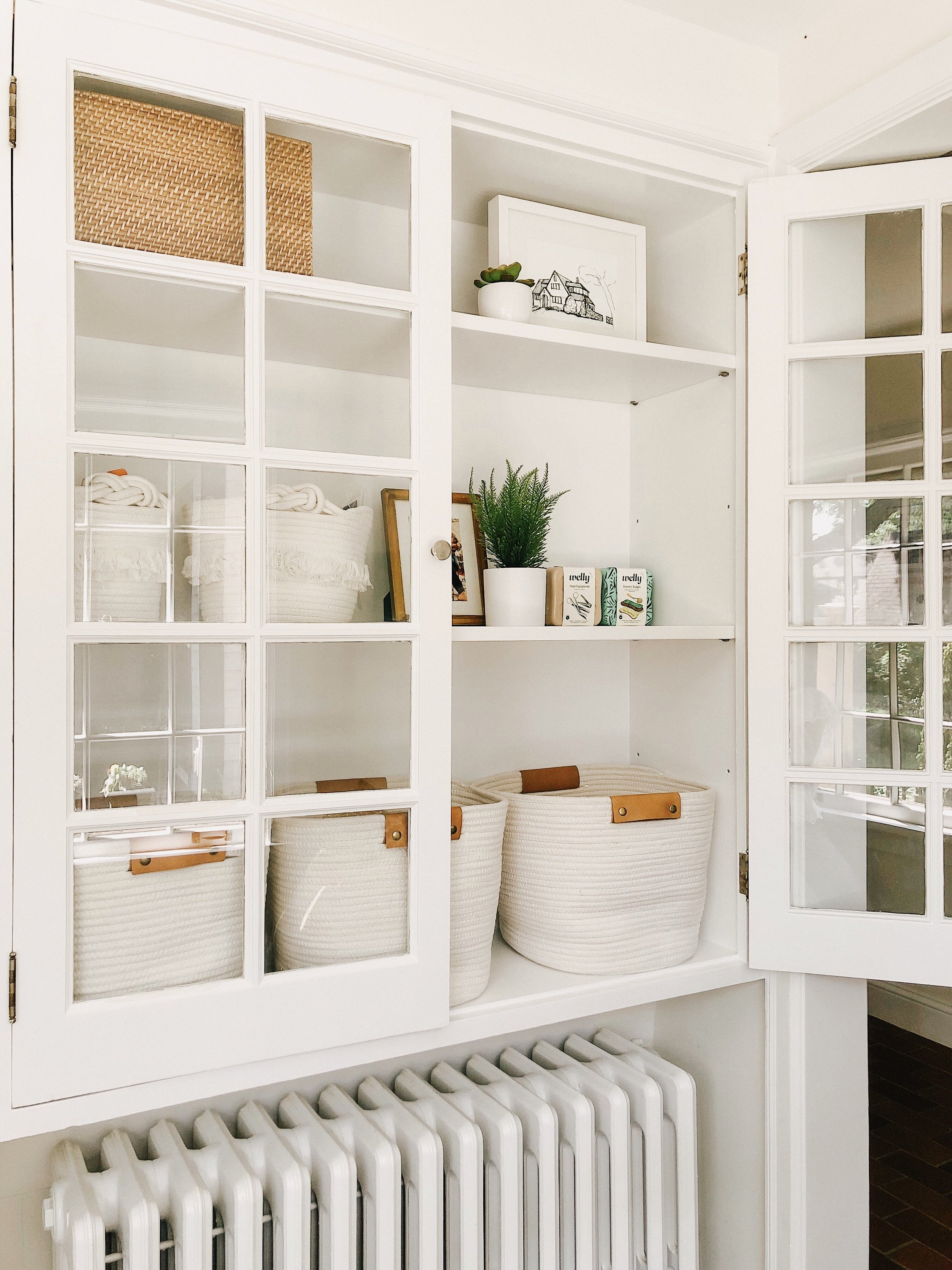 small cloth baskets  here  | large cloth baskets  here  | faux plant  here