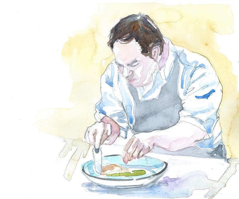 LE CHEF - Emmanuel travaille les produits locaux bien sûr dans des recettes d'inspiration méditerranéenne. Au printemps, les asperges vertes gratinées au parmesan accompagnent une selle d'agneau rôtie relevée d'une viennoise citron et olives et les desserts font honneur aux fraises de pays. En été, ce sont les clafoutis aux cerises servis avec un caillé de chèvre aux zestes de citron qui flattent les palais gourmands après le poisson sauvage du moment cuisiné avec des légumes gorgés de soleil. Aux premiers frimas, la carte s'étoffe de gibier, des retours de chasse des environs qui flirtent dans l'assiette avec les champignons et les truffes du Luberon.