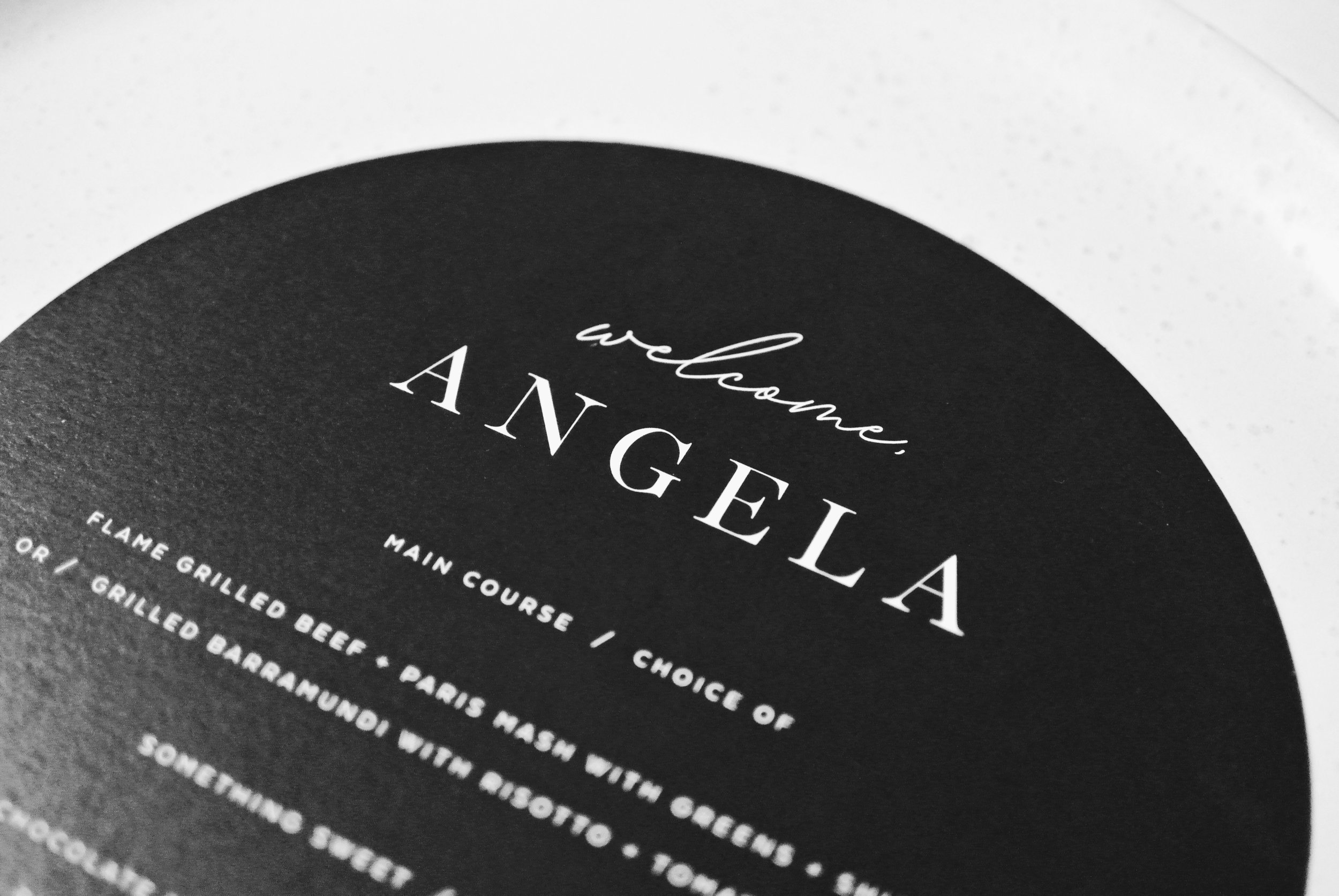 'Something New' Round Menu in Black with Guest Name