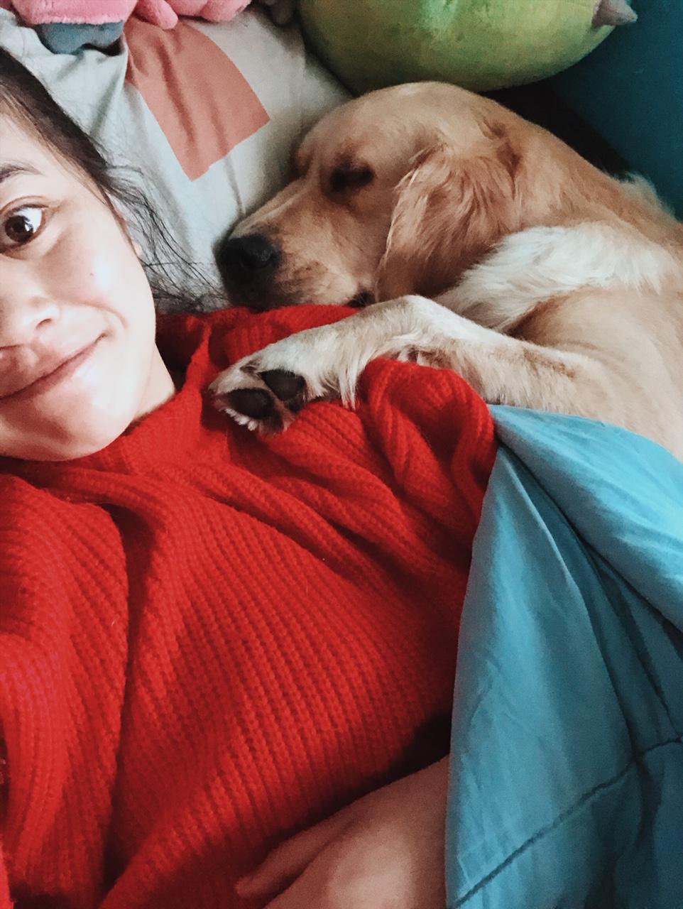 Ich wachte auf und kuschelte mit meinem golden retriever, Penelope -