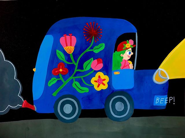 Working on a set of Goache pieces about night time flower vendors #illustration