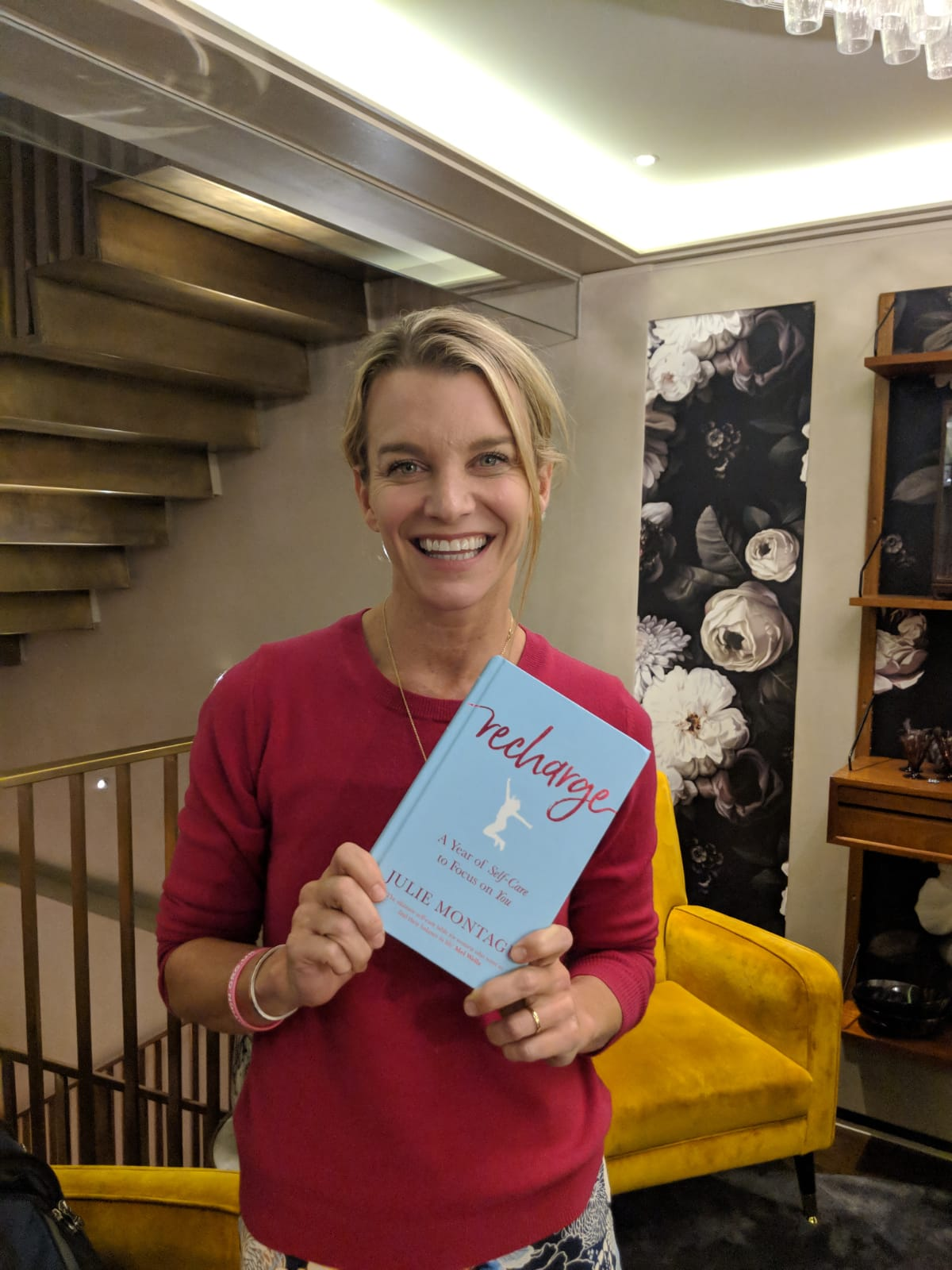 Julie Montagu with her new book  Recharge, A Year of Self Care to Focus on You